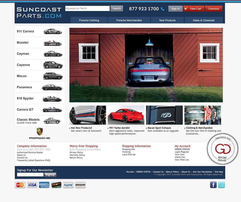 SuncoastParts.com - Miva Custom Design & Development - Before