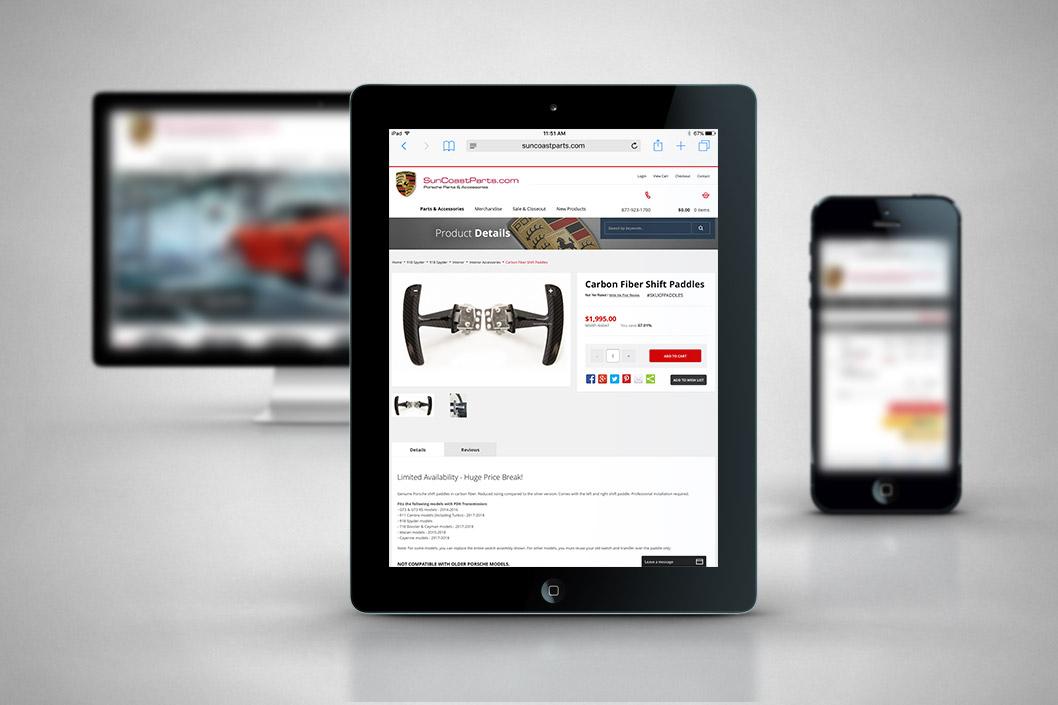 SuncoastParts.com - Miva Custom Design & Development - Tablet