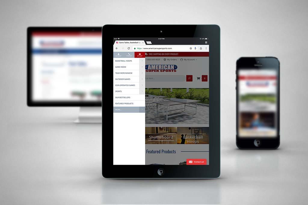 AmericanSuperSports.com - Miva Ecommerce Design Tablet