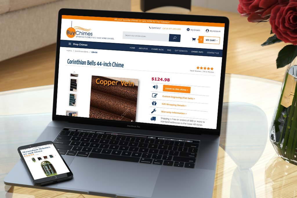BuyChimes.com - Miva Ecommerce Customization - Laptop