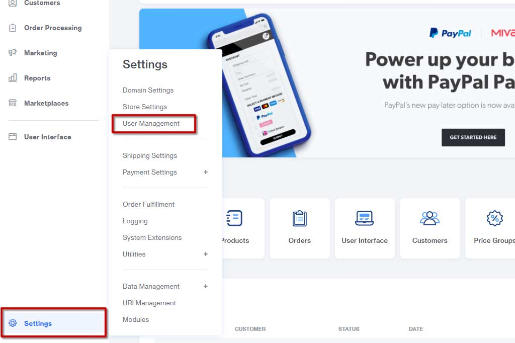 Create an Administrative User in Miva