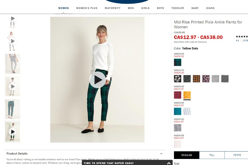 Reinvigorate Your Digital Storefront - OldNavy.com product page showing video