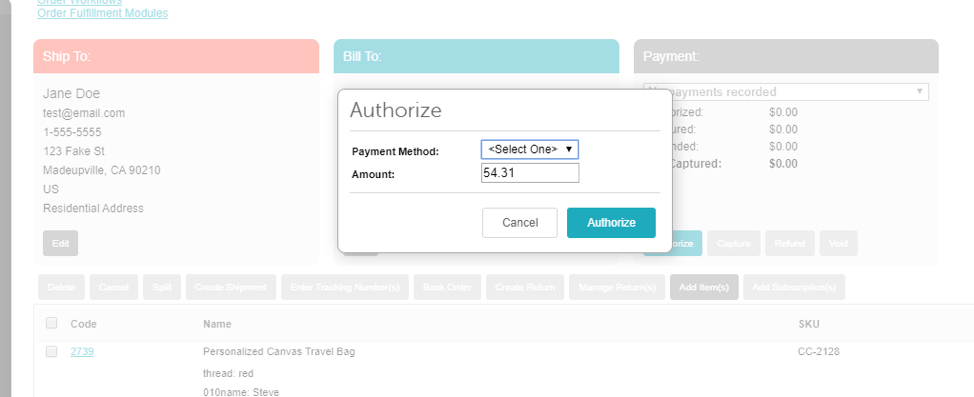 Miva Authorize Screen- Admin Shot