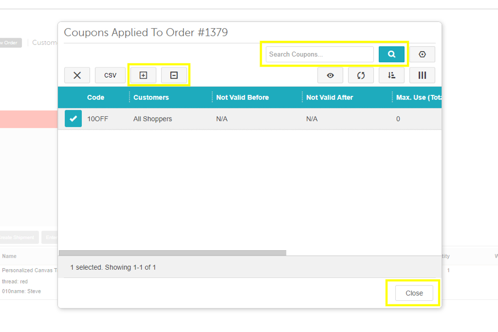 Miva Coupon Applied to Order - Admin shot