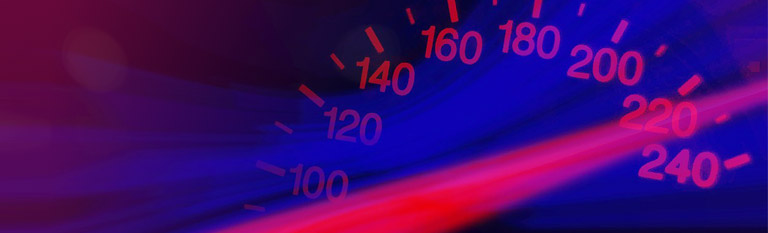 Speedometer reaching 220 mph