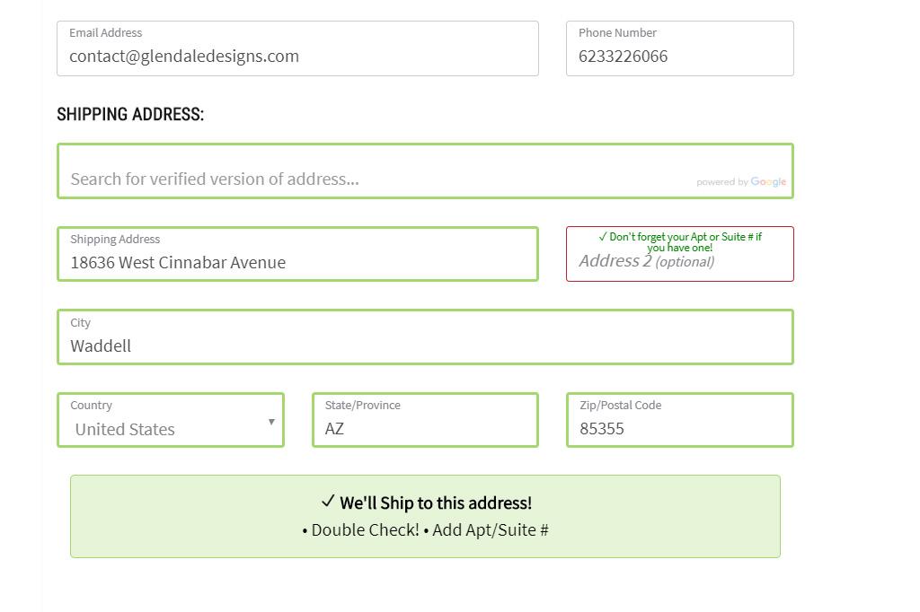 Address verification fields filled