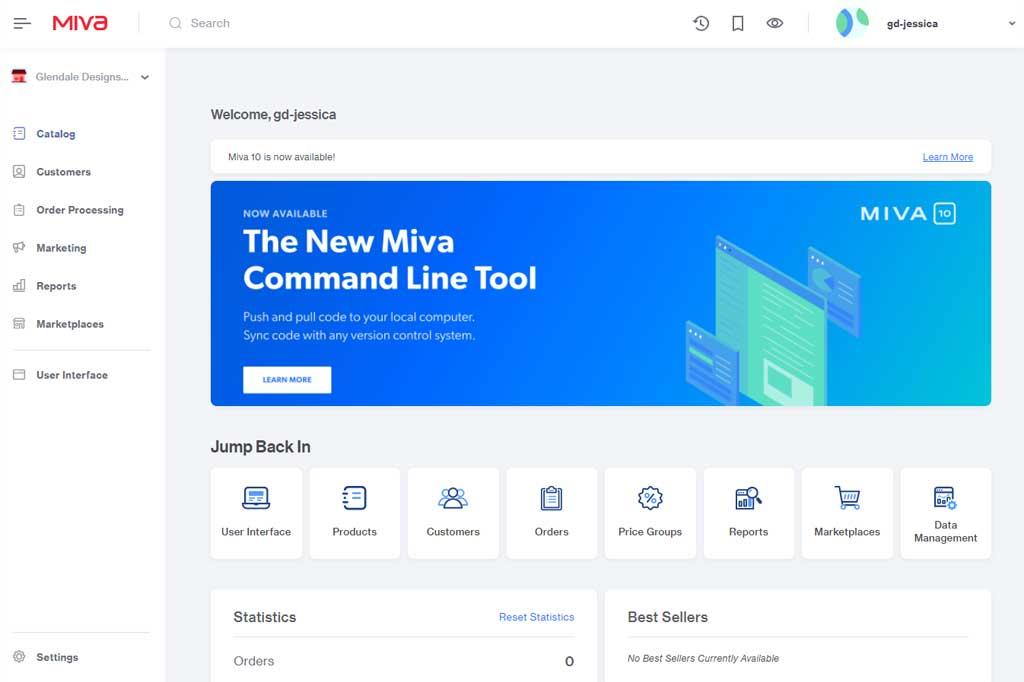 Miva 10 Home Screen