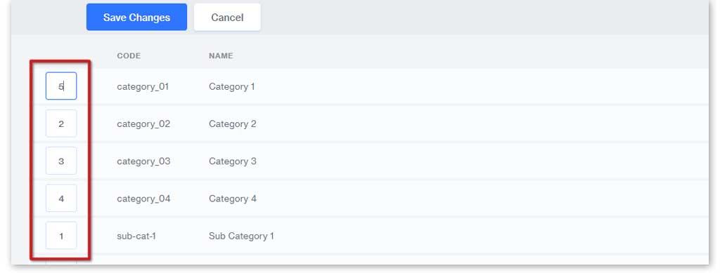Renumber to sort your subcategories