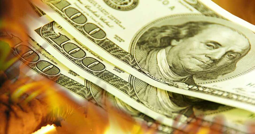 Burning picture of money