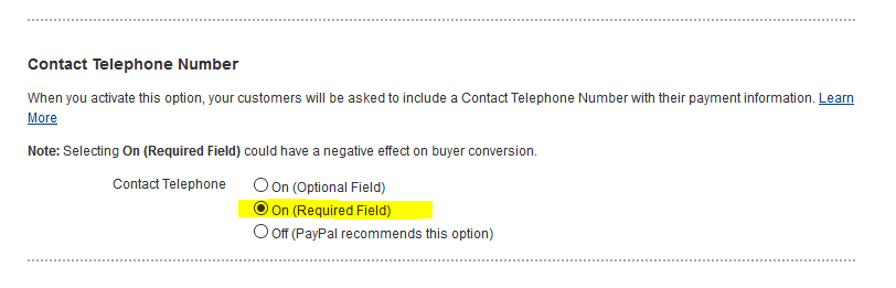 paypal contact phone setting