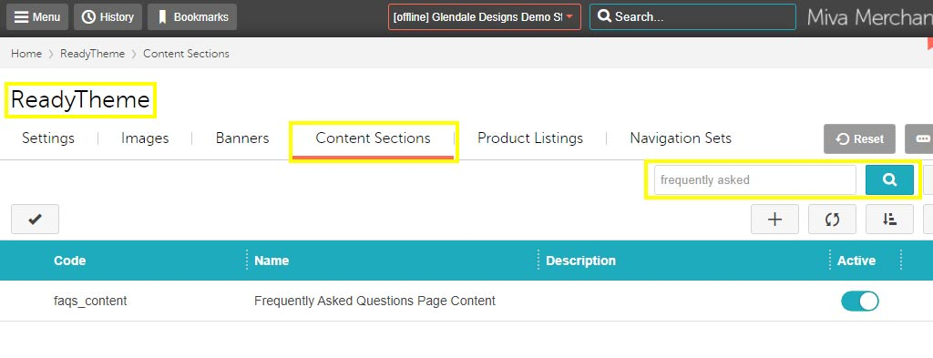 Finding Your Miva Content Sections