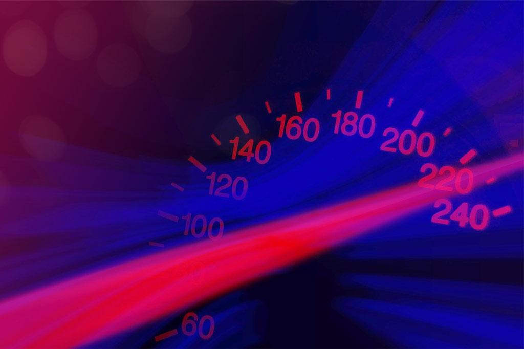 Speedometer reaching 220 mph