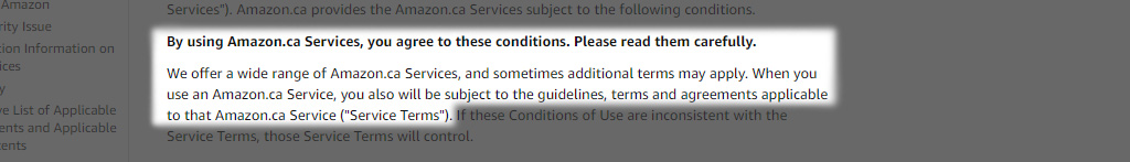 Amazon's conditions of use