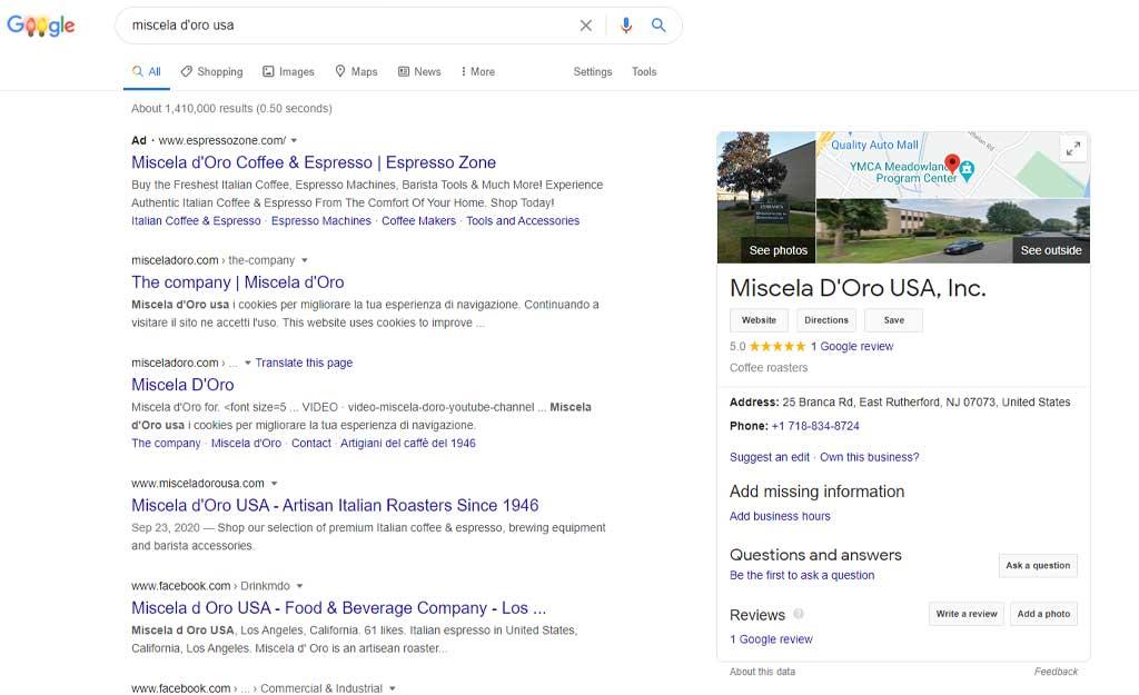 Glendale Designs Miscela d'Oro Google listing