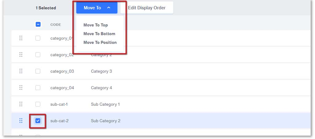 Sort your subcategories with Move To