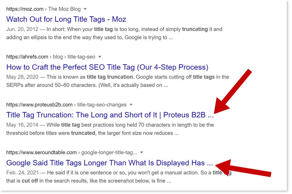 Truncated Title Tags