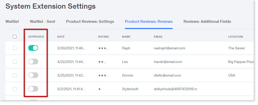 approving reviews in the product reviews module