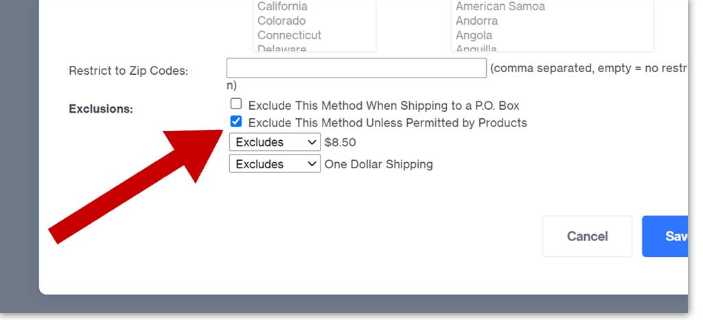 shipping exclusions