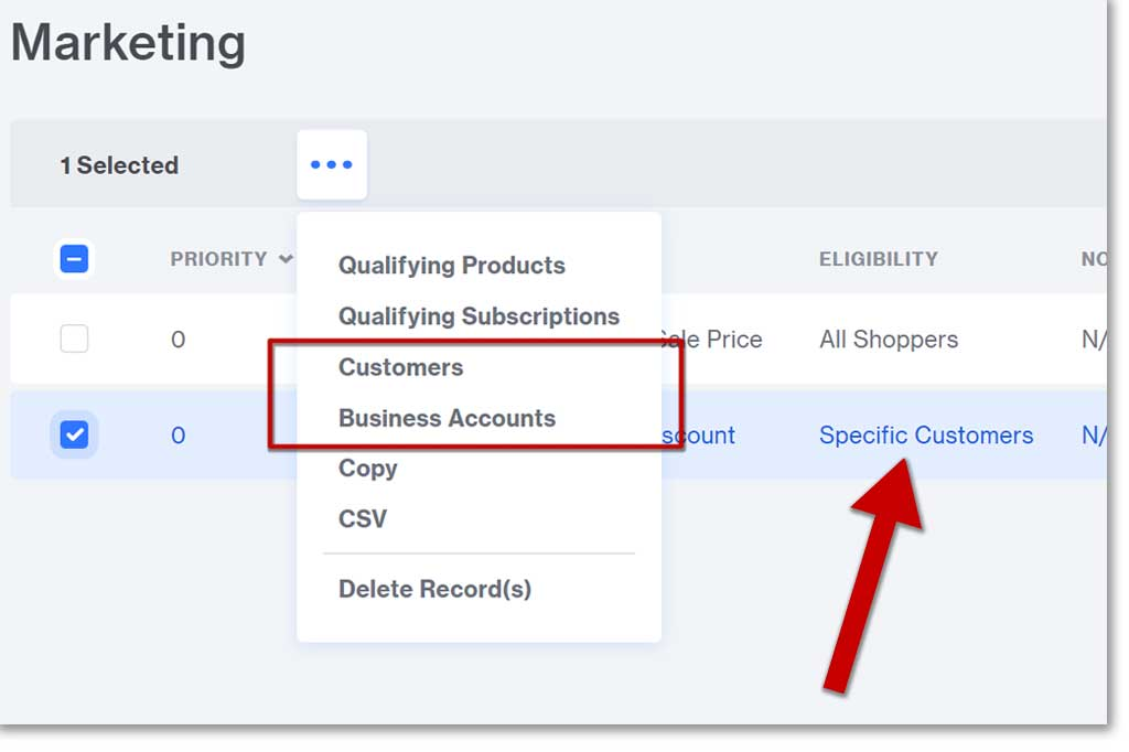 Selecting Business and Customer Accounts