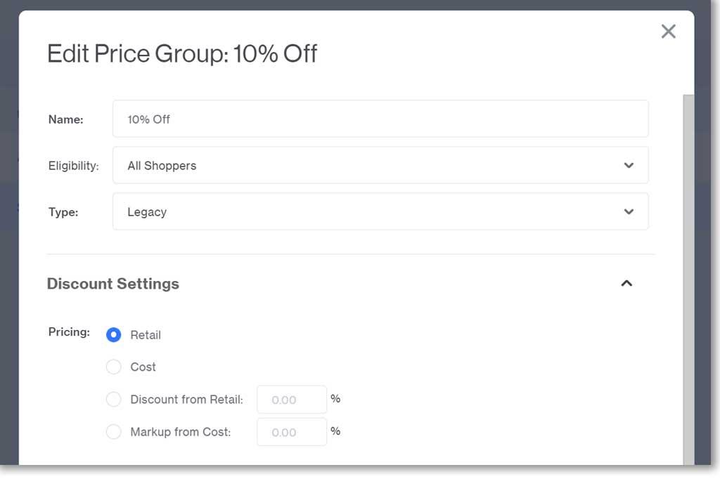 Legacy Price Group in Miva 10