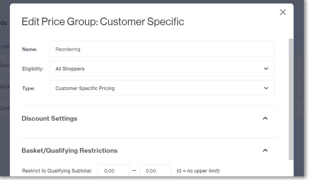 Customer Specifics Pricing