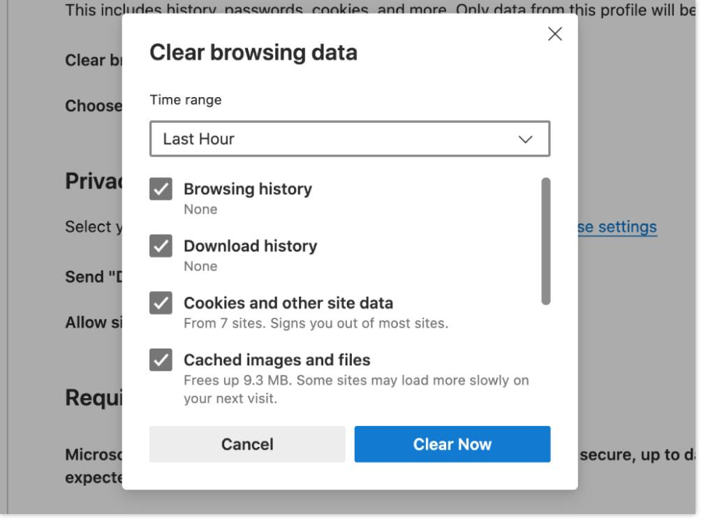 Clear your cache in Edge